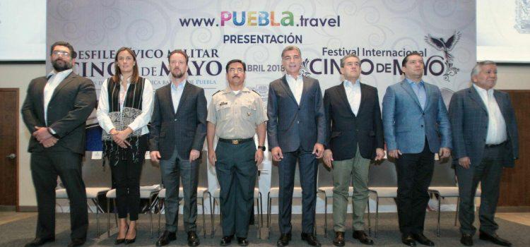 PRESENTAN DESFILE CÍVICO MILITAR Y FESTIVAL INTERNACIONAL CINCO DE MAYO
