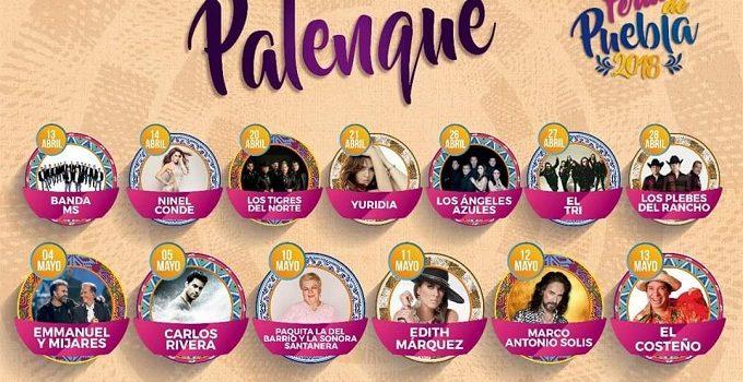 Grandes espectáculos se presentarán en el Palenque de la Feria de Puebla 2018.