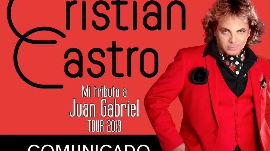 Por motivos de gira de logística de gira, se reprograma concierto de Cristian Castro en Puebla.