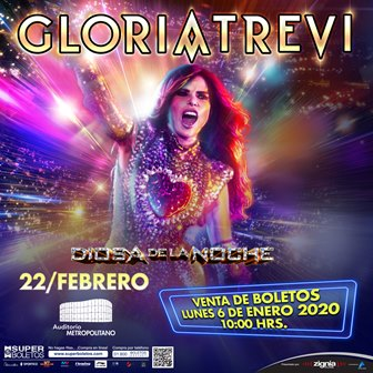 "Gloria Trevi llega finalmente a Puebla con su tour ""Diosa de la Noche""."