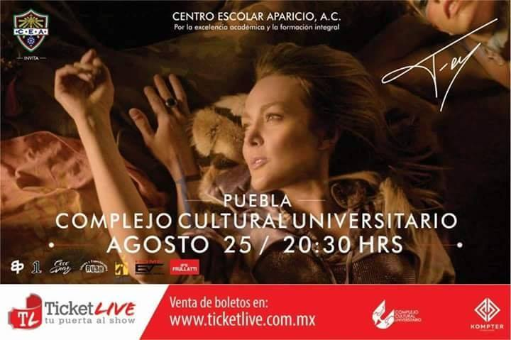 Fey llega a Puebla el próximo sábado 25 de agosto.